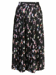 Maison Margiela pleated floral skirt - Black