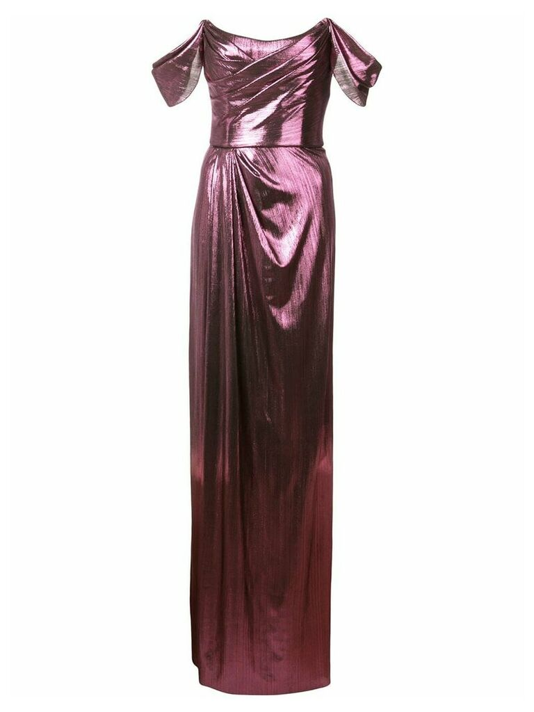 Marchesa Notte ruched detail evening dress - Purple