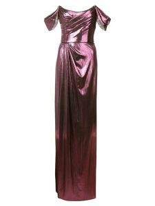 Marchesa Notte ruched detail evening dress - Purple