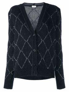 Saint Laurent embellished knit cardigan - Blue