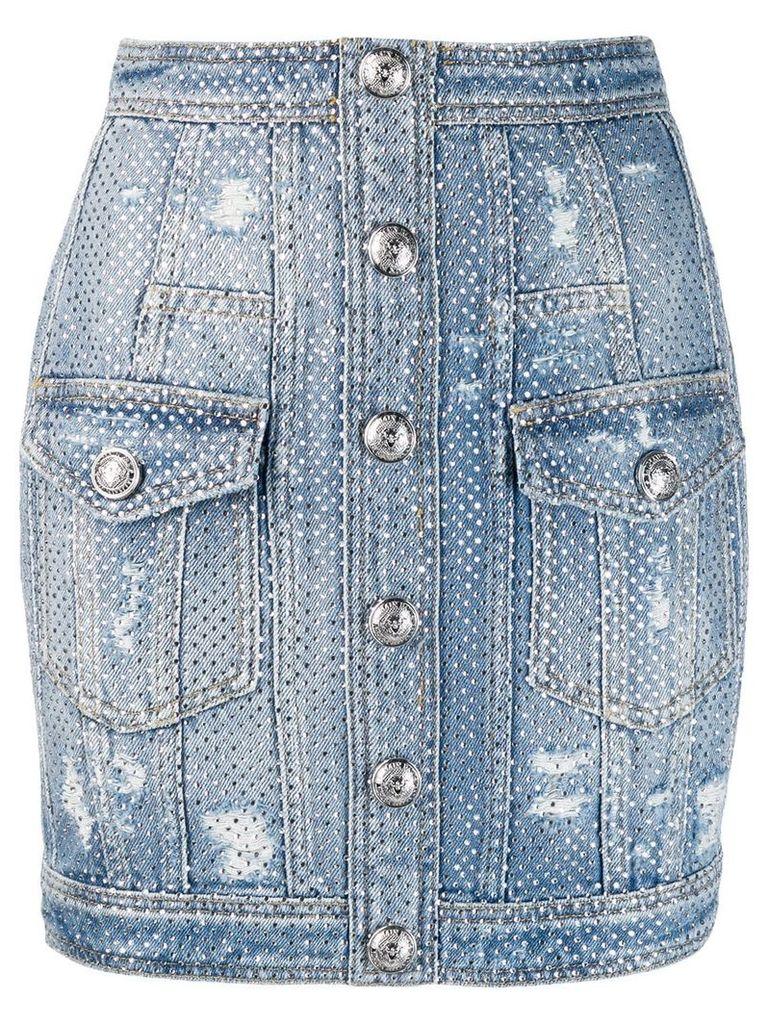 Balmain distressed crystal denim skirt - Blue