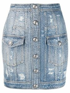 Balmain distressed crystal denim skirt - Blue