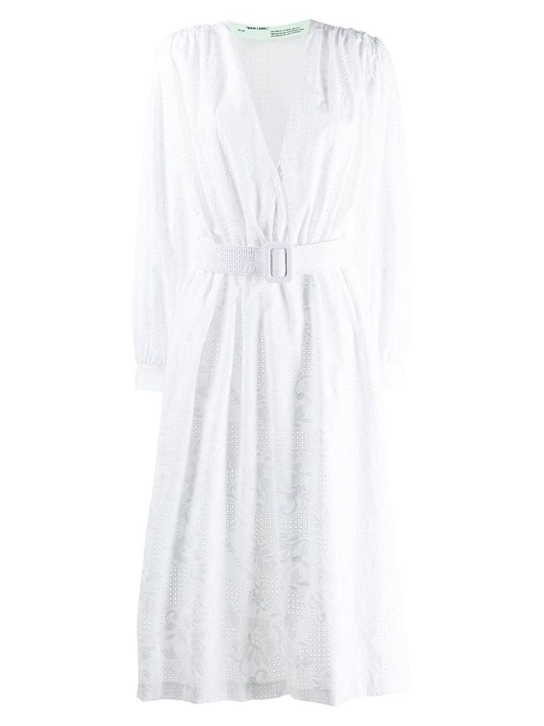 Off-White embroidered belted dress