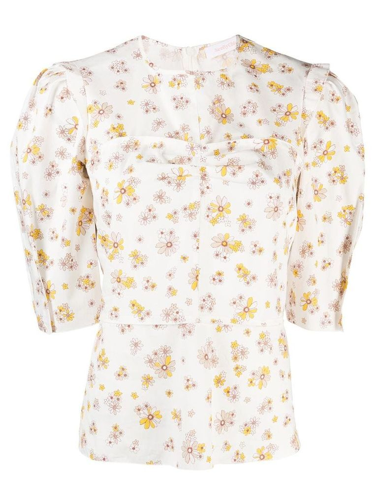 See By Chloé panelled floral top - White