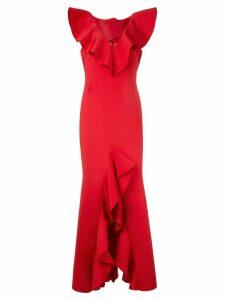 Badgley Mischka ruffled scuba gown - Red