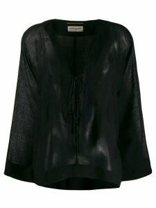 Saint Laurent long-sleeve flared top - Black