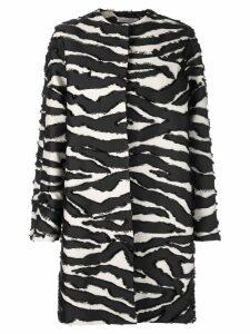 Oscar de la Renta zebra-print coat - Black