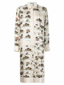 Bottega Veneta tropical print midi dress - Neutrals