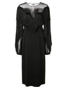 Alberta Ferretti fringed chest dress - Black