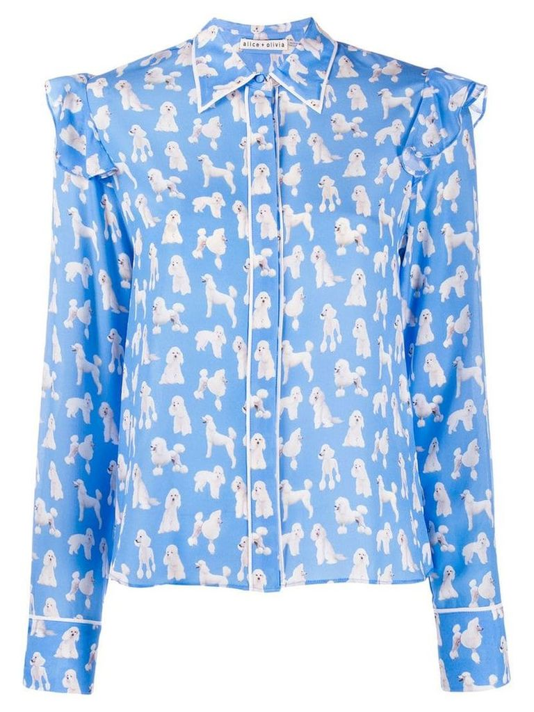 Alice+Olivia dog print ruffle sleeve blouse - Blue