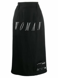 Off-White embroidered midi skirt - Black