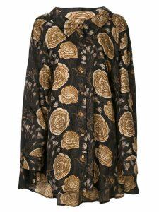 Uma Wang floral print oversized shirt - Black