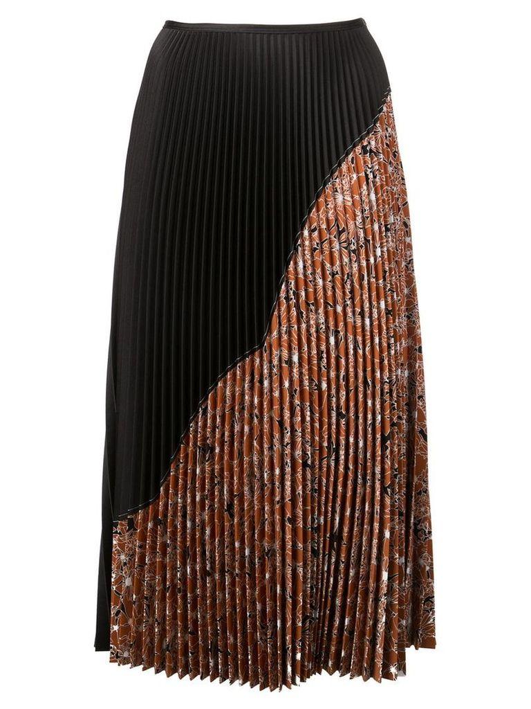 Cédric Charlier pleated half-print skirt - Brown