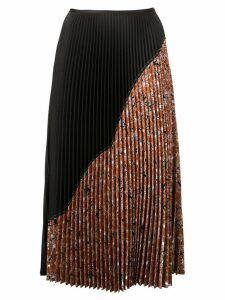 Cédric Charlier pleated half-print skirt - Brown