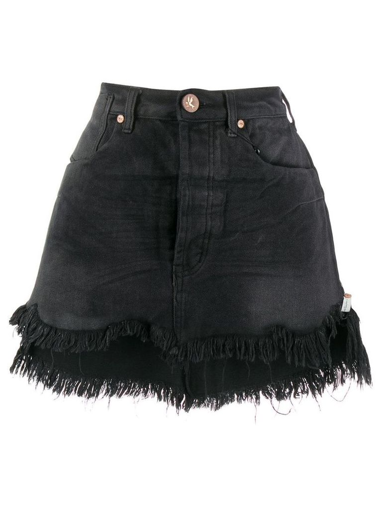 One Teaspoon frayed hem denim skirt - Black
