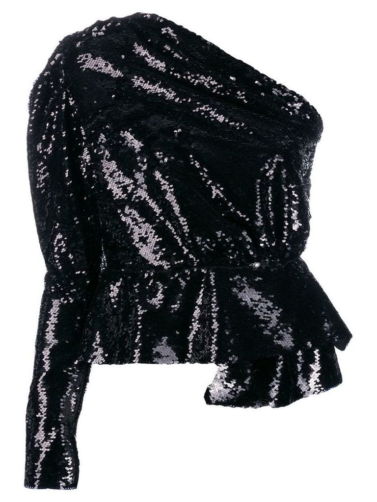 16Arlington sequin one-shoulder top - Black