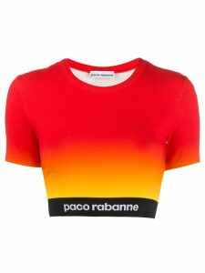Paco Rabanne logo band cropped top - Red