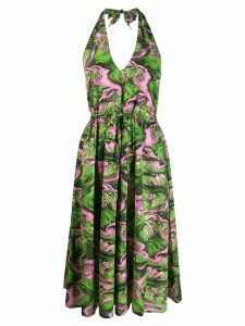 McQ Alexander McQueen printed halterneck dress - Green