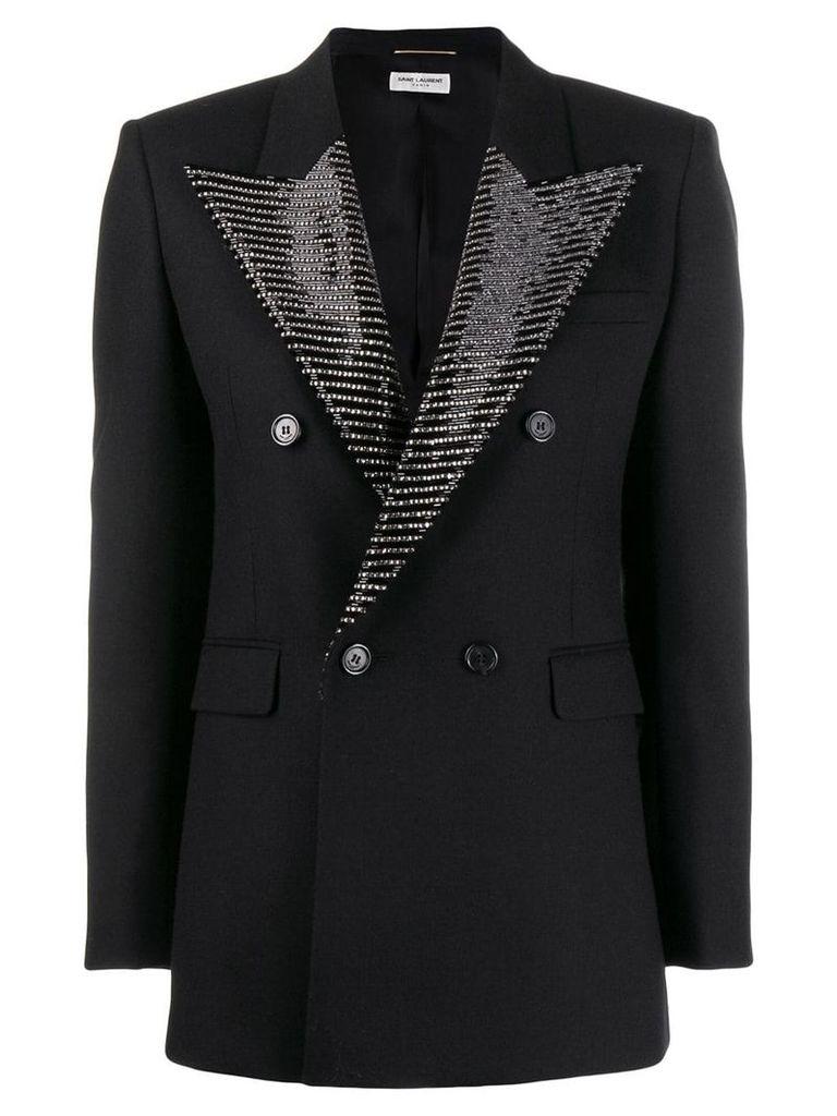 Saint Laurent embellished lapel blazer - Black
