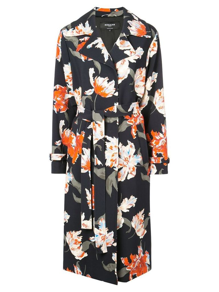 Rochas floral print trenchcoat - Blue