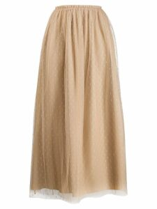 Red Valentino layered net midi skirt - Brown