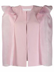 Genny ruffled sheer sleeve blazer - Pink
