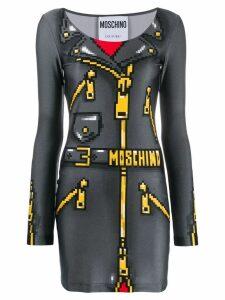 Moschino pixel-effect mini dress - Grey