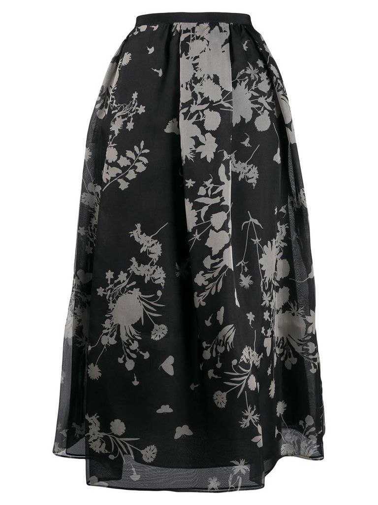 Max Mara Studio floral print skirt - Black
