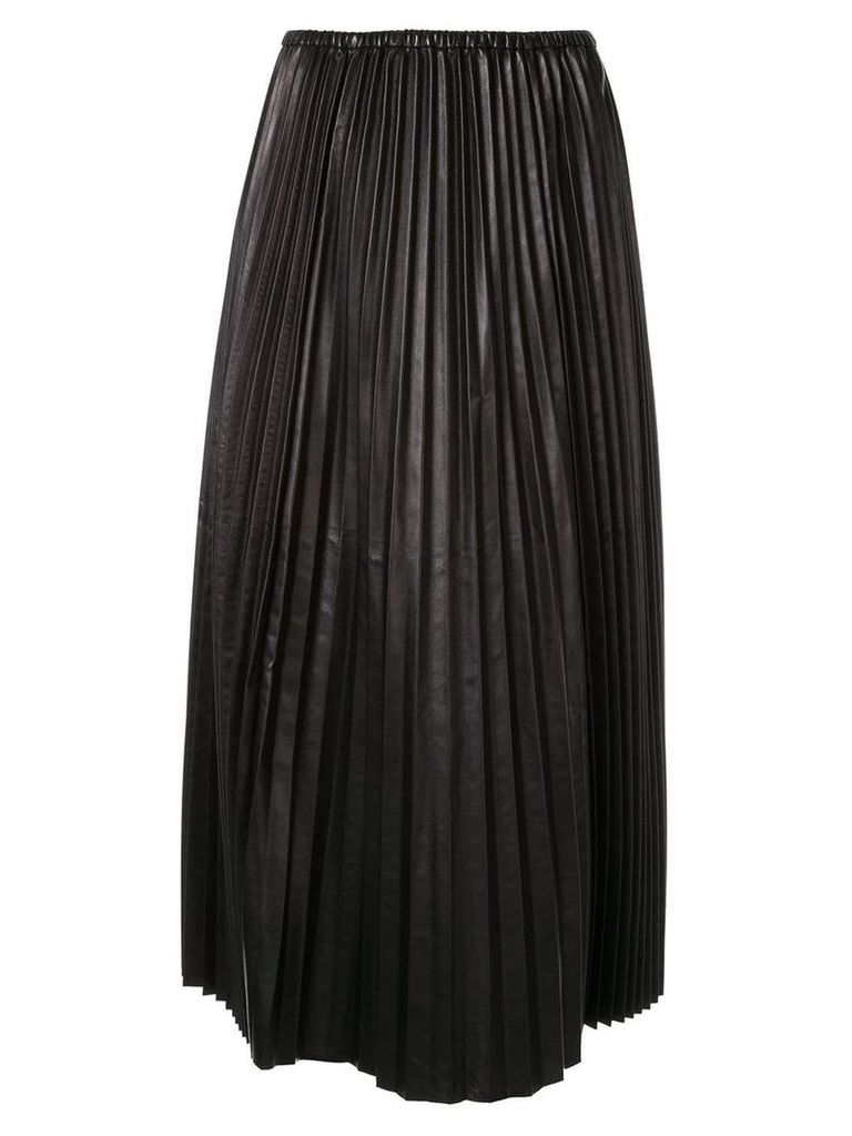 Valentino pleated leather skirt - Black