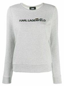 Karl Lagerfeld contrast logo jumper - Grey
