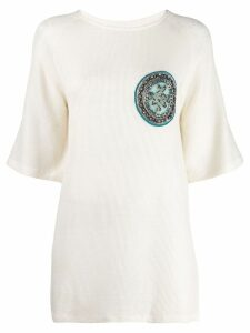 Mr & Mrs Italy embroidered patch top - White