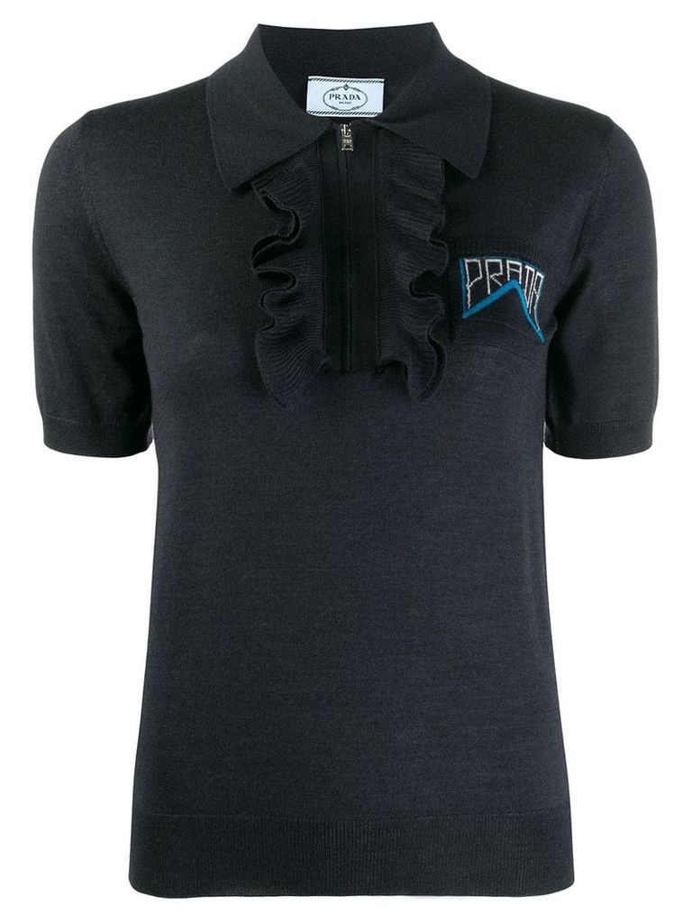 Prada short-sleeved knit polo top - Blue