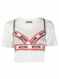 Moschino bra print crop T-shirt - White