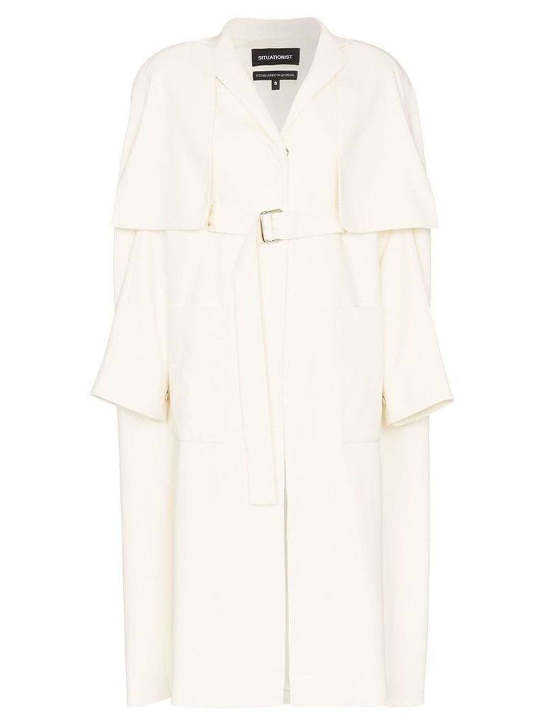 Situationist cape-style trench coat - Neutrals