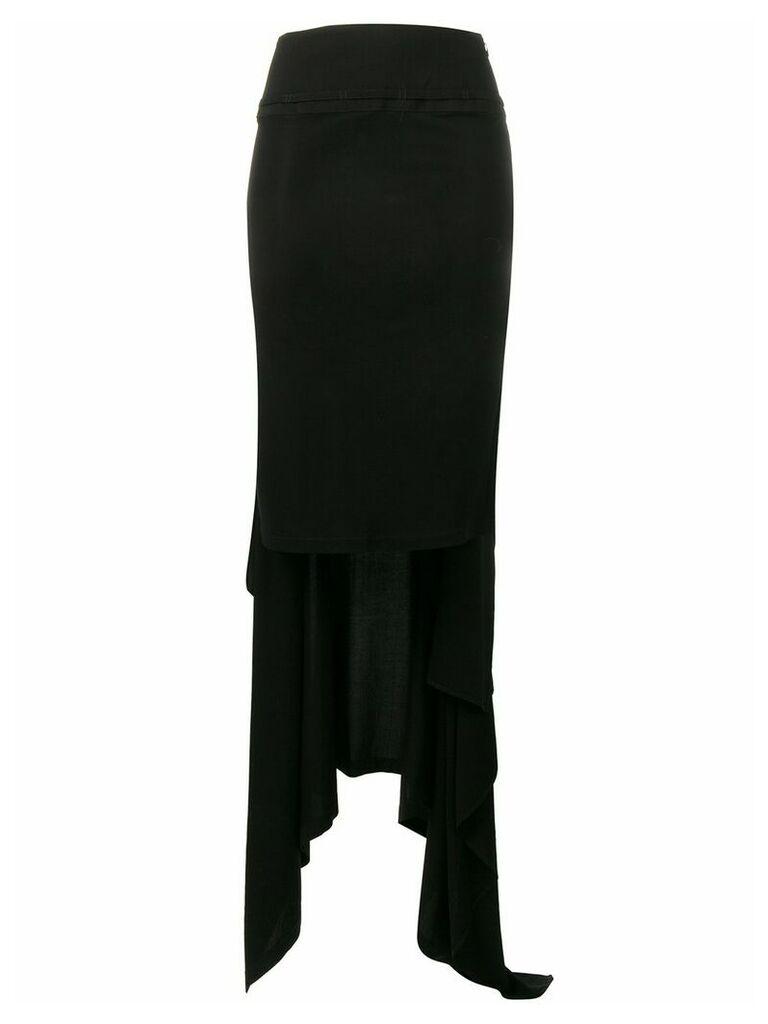 Yohji Yamamoto asymmetric draped skirt - Black