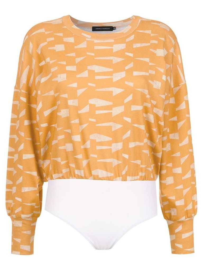 Andrea Marques printed cropped top - Yellow