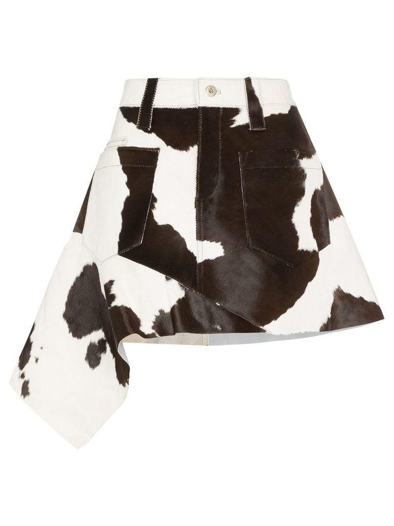 Marques'Almeida cow print asymmetric skirt - Black