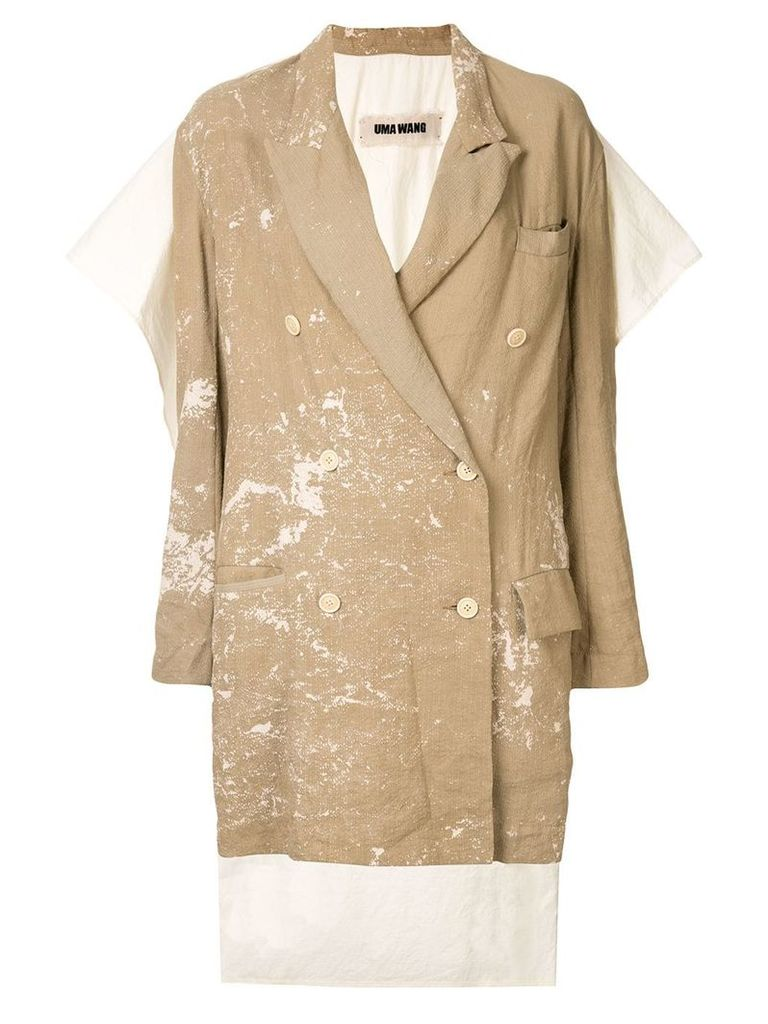 Uma Wang distressed caped blazer - Brown