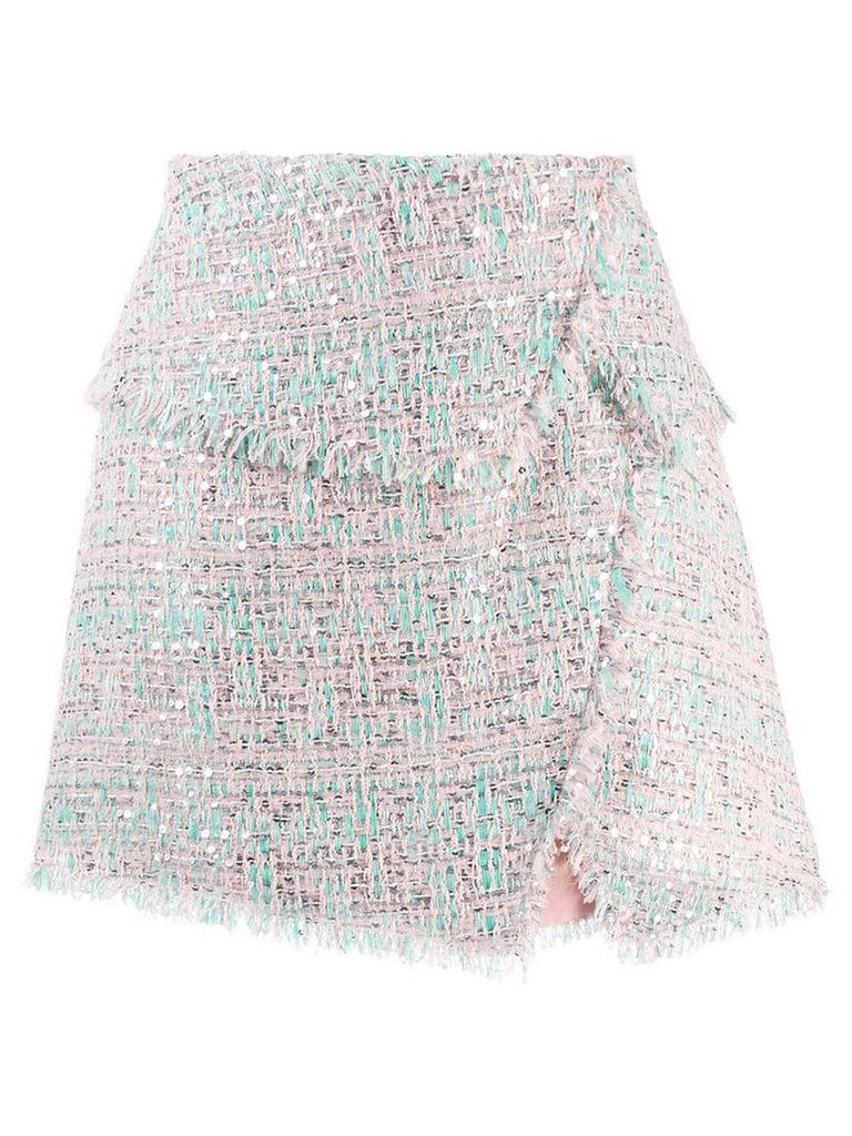 Balmain raw-trimmed tweed skirt - Pink