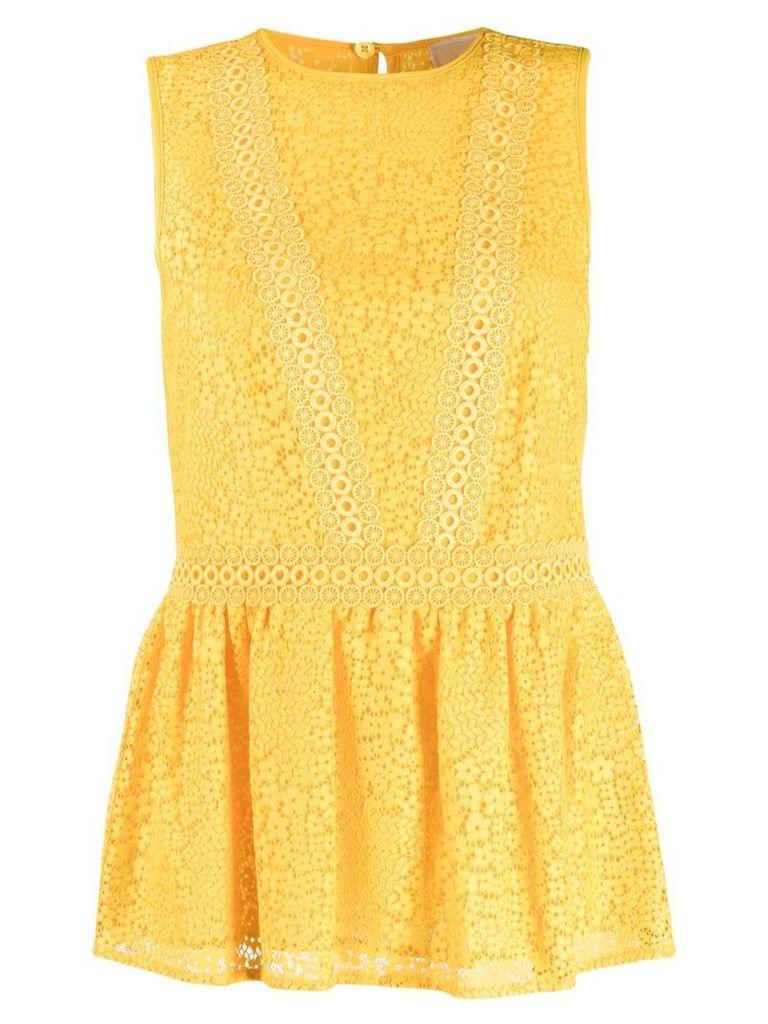 Michael Michael Kors geometric floral lace top - Yellow