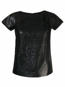 Rubin Singer embroidered mesh-overlay top - Black