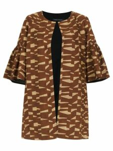 Andrea Marques printed short sleeved coat - Brown