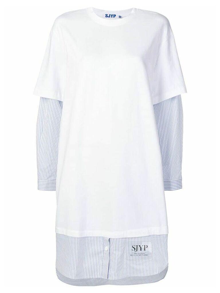 SJYP T-shirt over shirt dress - White