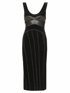 Mugler bustier contrast stitch dress - Black