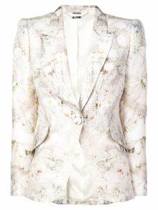Alexander McQueen floral print blazer - NEUTRALS