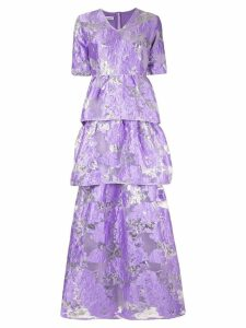 Baruni floral flared maxi dress - Purple