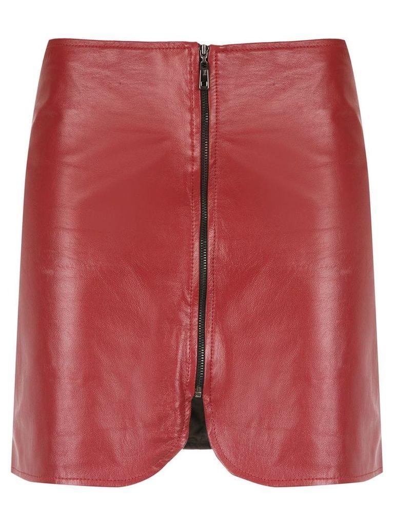 Andrea Bogosian zipped leather skirt - Red