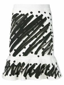 Moschino brushstroke print skirt - White
