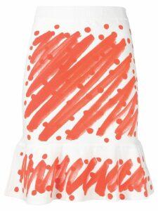Moschino brushstroke print peplum skirt - White