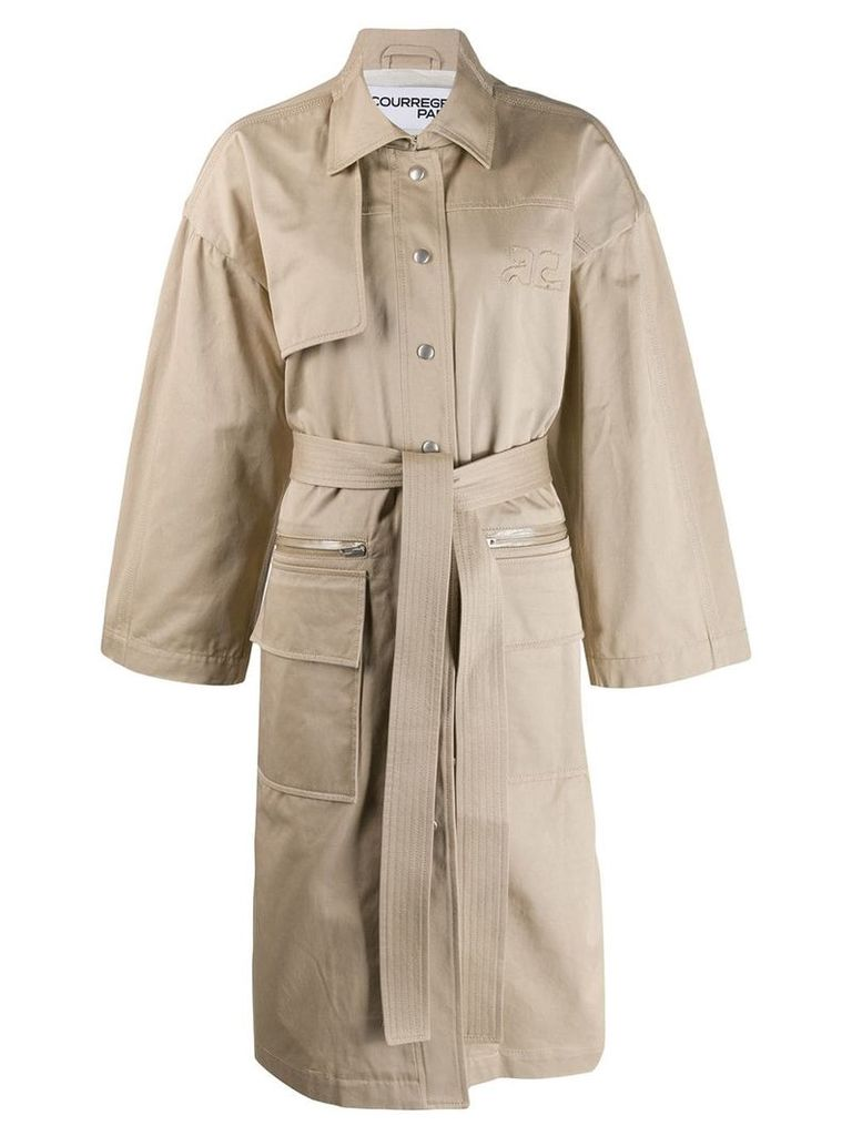 Courrèges boxy trench coat - Neutrals